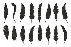 As penas vector a silhueta preto e branco ilustração stock