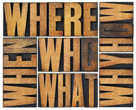 As perguntas abstraem no tipo de madeira Fotografia de Stock