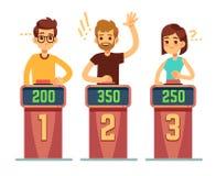 As perguntas de resposta dos povos e os botões da pressão no questionário mostram Conceito do vetor da competição do jogo do enig ilustração royalty free