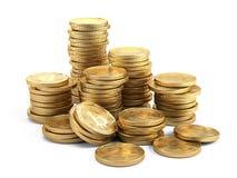 As pilhas de Bitcoins isolaram-se no branco Conceito do cryptocurrency da mineração Imagem de Stock