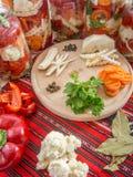 As pimentas de sino escolhidas classificaram com aipo, cenouras, pimenta, salsa, armorácio, louro Foto de Stock Royalty Free