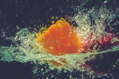As pimentas de sino vermelhas amarelas verdes deixam cair na água com respingo Fotografia de Stock Royalty Free