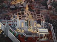As pinturas murais de Ramakien Ramayana ao longo das galerias do templo de Emerald Buddha, do pal?cio grande ou do kaew do phra d foto de stock