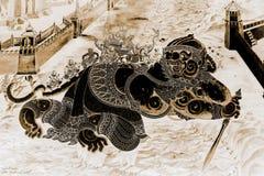 As pinturas murais de Ramakien Ramayana colorem o preto e o ouro na ilustração branca da parede ao longo do papel de parede das g fotografia de stock royalty free