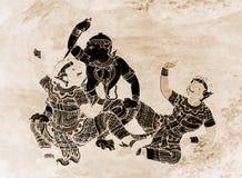 As pinturas murais de Ramakien Ramayana colorem o preto e o ouro na ilustração branca da parede ao longo do papel de parede das g fotos de stock royalty free