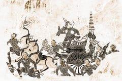 As pinturas murais de Ramakien Ramayana colorem o preto e o ouro na ilustração branca da parede ao longo do papel de parede das g foto de stock