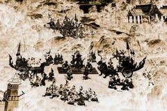 As pinturas murais de Ramakien Ramayana colorem o preto e o ouro na ilustração branca da parede ao longo do papel de parede das g imagem de stock royalty free