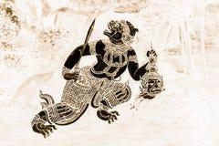 As pinturas murais de Ramakien Ramayana colorem o preto e o ouro na ilustração branca da parede ao longo do papel de parede das g imagem de stock