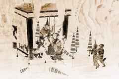 As pinturas murais de Ramakien Ramayana colorem o preto e o ouro na ilustração branca da parede ao longo do papel de parede das g foto de stock royalty free