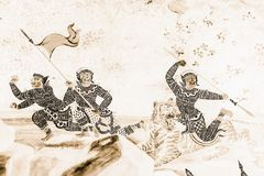 As pinturas murais de Ramakien Ramayana colorem o preto e o ouro na ilustração branca da parede ao longo do papel de parede das g imagens de stock