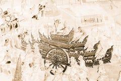 As pinturas murais de Ramakien Ramayana colorem o preto e o ouro na ilustração branca da parede ao longo do papel de parede das g imagens de stock royalty free