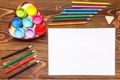 As pinturas, pastéis, papel, pintando ajustam-se Fotografia de Stock Royalty Free