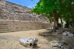 As pirâmides maias em México, escultura são a cabeça da serpente Fotografia de Stock Royalty Free
