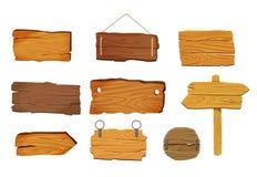 As placas de madeira dos sinais ajustaram-se com formas diferentes, elementos do vetor Imagem de Stock Royalty Free