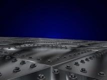 As placas de metal aparafusaram, deixando a perspectiva de uma obscuridade - fundo azul Imagens de Stock Royalty Free