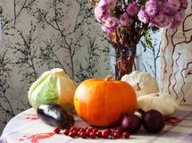 As plantas de jardim do outono dos vegetais da abóbora da couve dos pepinos dos tomates da colheita caem imagem de stock