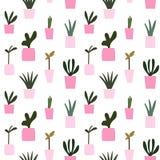 As plantas em pasta cor-de-rosa do potenciômetro de flor modelam o vetor sem emenda Foto de Stock