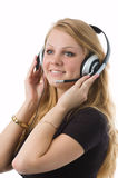 As it is pleasant to listen to. The nice blonde works as the operator Royalty Free Stock Images