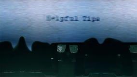 As pontas úteis exprimem a datilografia centrada em uma folha de papel no áudio velho da máquina de escrever filme