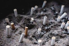 As pontas de cigarro nas cinzas, gostadas um cemitério, fumando matam o conceito, foco seletivo imagens de stock