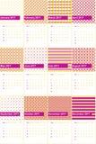As pontas vermelhas da violeta e do ouro coloriram o calendário geométrico 2016 dos testes padrões Imagens de Stock Royalty Free