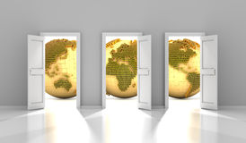 As portas ao mercado financeiro global, 3d rendem ilustração do vetor