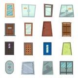 As portas da rua coloridas às casas e às construções ajustaram-se no estilo liso do projeto Jogo das várias portas no fundo branc ilustração do vetor