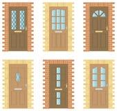 As portas de madeira ajustaram-se Imagens de Stock
