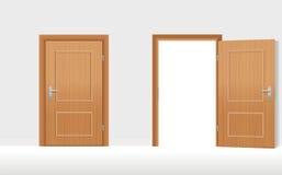 As portas fechados abrem ilustração do vetor