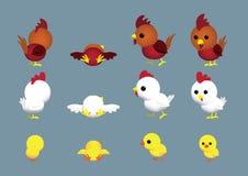 As poses bonitos do personagem de banda desenhada da família da galinha ajustaram 1 Imagem de Stock