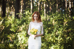 As poses da noiva do redhair na floresta Imagens de Stock Royalty Free