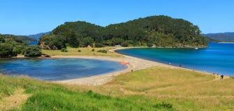 As praias e as baías bonitas da ilha de Motuarohia, baía das ilhas, NZ fotos de stock royalty free