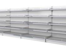 As prateleiras vazias para a loja alinharam em uma fileira longa Mostra para o retalho ilustração stock