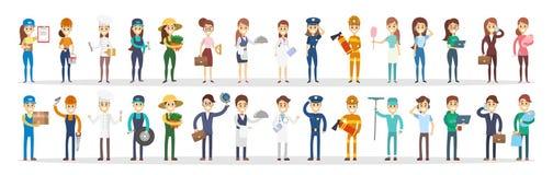 As profissões acoplam o grupo ilustração stock