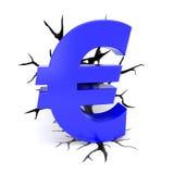 As quebras cercam o euro- símbolo azul ilustração stock