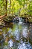 As quedas de Apshawa em uma conserva de natureza suburbana em NJ são cercadas pela floresta verde luxúria em uma tarde do verão foto de stock