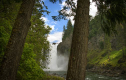 As quedas poderosas de Snoqualmie brilham na floresta brilhante Imagens de Stock Royalty Free