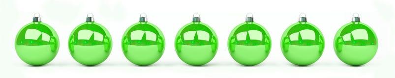 As quinquilharias do verde e do White Christmas alinharam a rendição 3D Imagem de Stock Royalty Free