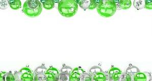 As quinquilharias do verde e do White Christmas alinharam a rendição 3D Foto de Stock