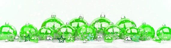As quinquilharias do verde e do White Christmas alinharam a rendição 3D Fotos de Stock