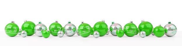 As quinquilharias do verde e do White Christmas alinharam a rendição 3D ilustração stock