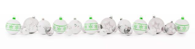 As quinquilharias do verde e do White Christmas alinharam a rendição 3D Foto de Stock Royalty Free