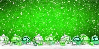 As quinquilharias do verde e do White Christmas alinharam a rendição 3D Imagens de Stock