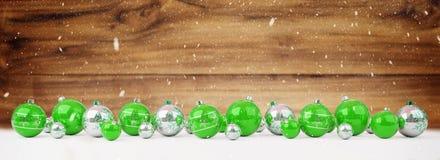As quinquilharias do verde e do White Christmas alinharam a rendição 3D ilustração royalty free