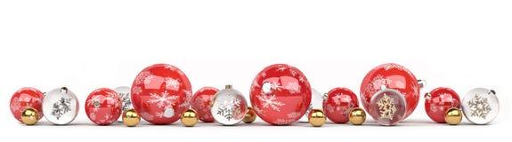 As quinquilharias do vermelho e do White Christmas alinharam a rendição 3D Imagem de Stock Royalty Free