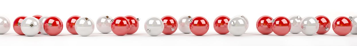 As quinquilharias do vermelho e do White Christmas alinharam a rendição 3D Foto de Stock Royalty Free