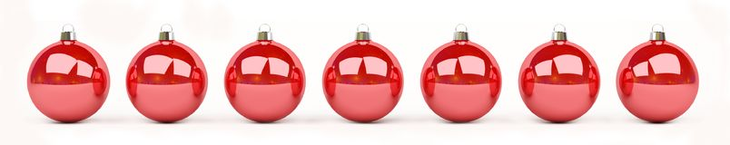 As quinquilharias do vermelho e do White Christmas alinharam a rendição 3D Fotografia de Stock Royalty Free