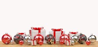 As quinquilharias do vermelho e do White Christmas alinharam a rendição 3D Fotografia de Stock