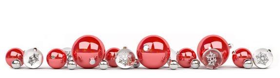 As quinquilharias do vermelho e do White Christmas alinharam a rendição 3D Imagem de Stock