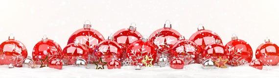 As quinquilharias do vermelho e do White Christmas alinharam a rendição 3D Foto de Stock